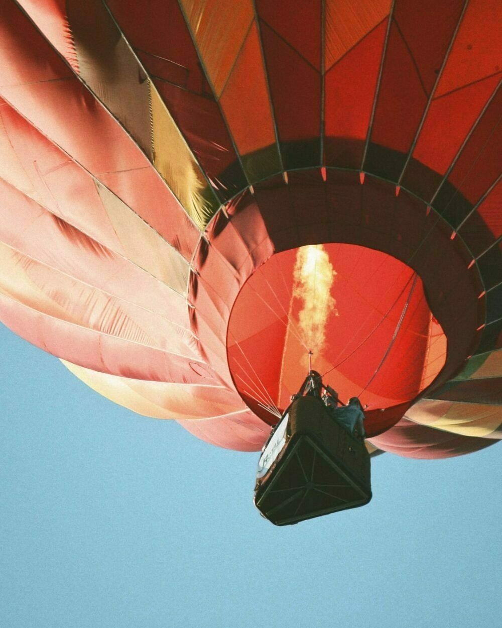 Hot air balloon with fire