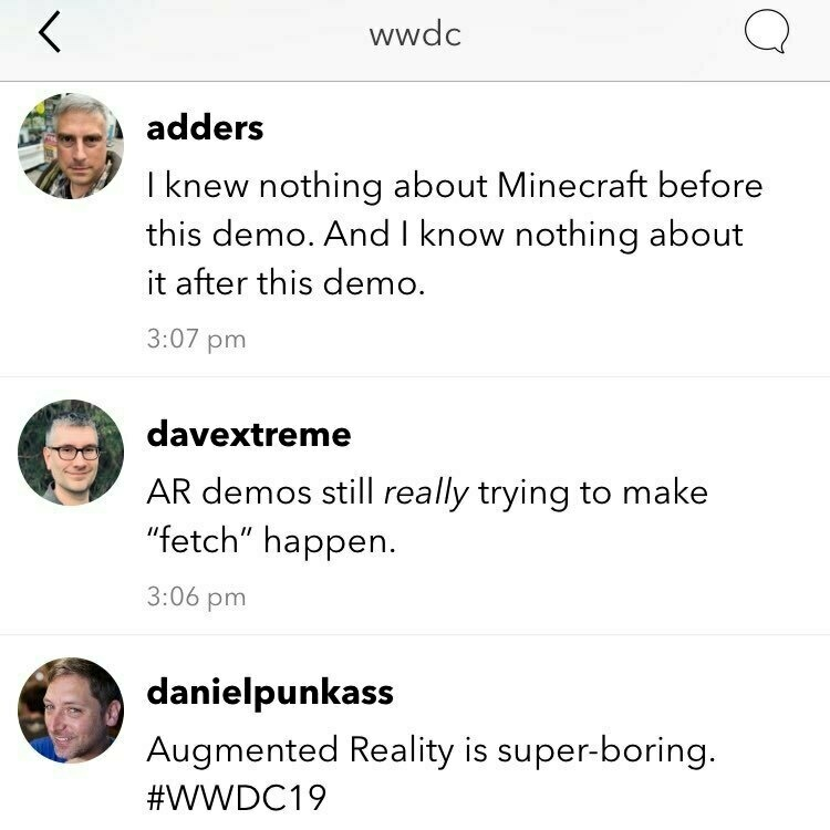 Screenshot of the Micro.blog WWDC Timeline featuring members talking about augmented reality.