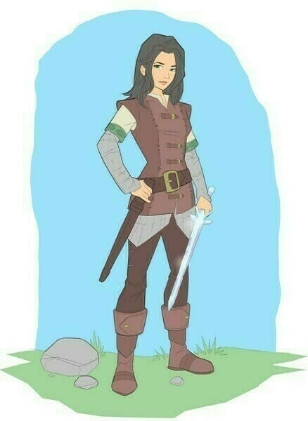 Emily Haven stands, wearing her chain-mail and leather and holding her crystal sword.