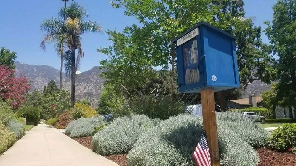 Angle from sidewalk up to a small blue Little Free Library with a garden behind it and mountains in the background