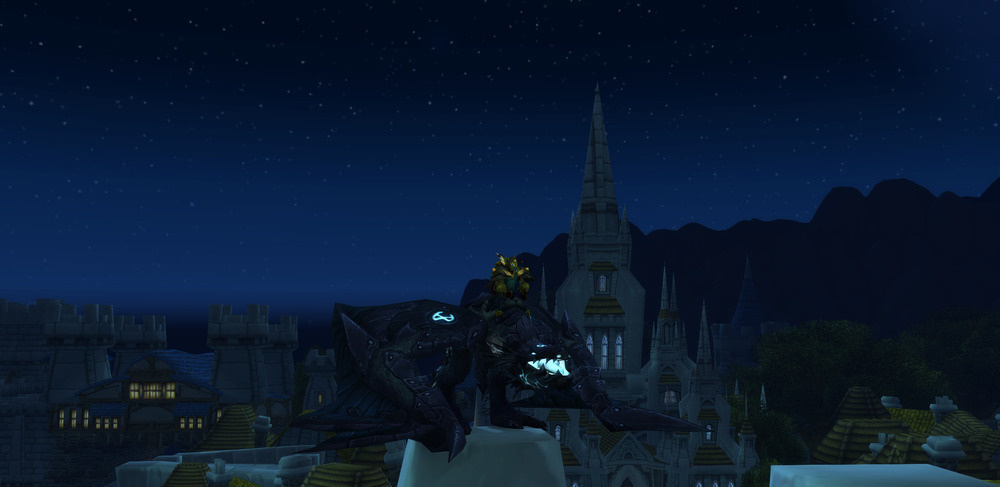 Screenshot of the Ironbound Proto-Drake mount, on the battlements of Stormwind.