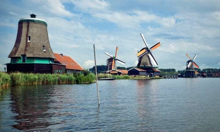 Historic windmills of Zaanse Schans.