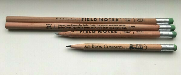 three Field Notes pencils and a friend
