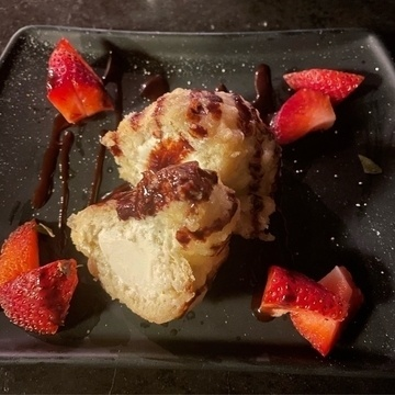 Tempura ice cream with strawberries